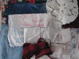 Cotton, linen and woollen fabrics; old, salvaged, saved, remnant.