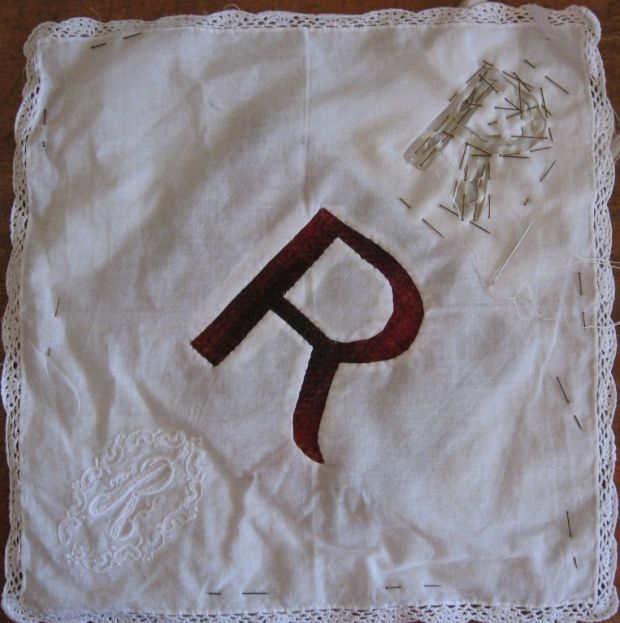 Monogrammed hanky with extra embroidery in progress