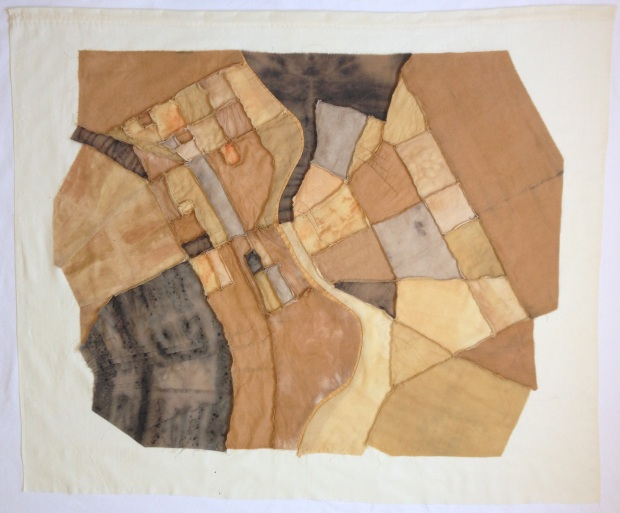 Street View II, Textile, Plant and rust-dyed wool and silk fabric and found cotton fabric, thread. 115cm x 135cm.