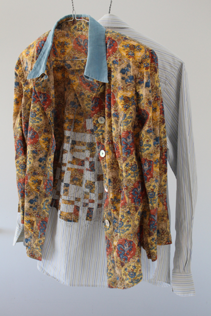 Textile, Shirt, blouse, thread and coat hangers, Fabric manipulation and hand stitching. 86cm x 50cm x 26cm.